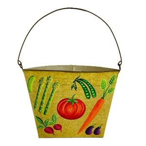 Hand Painted Vegetable Farmhouse Wall Bucket